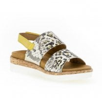 Gabor Ladies Slingback Flat Wdge Sandals - Yellow Snake