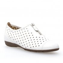 Gabor Ladies White Leather Decorative Zipper Slip On Perforated Shoes
