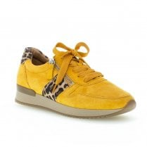 Gabor Womens City Yellow Suede Sneakers