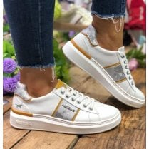 Mustang Ladies White/Yellow Leather Trainer - 1351-304-16