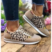 Redz Womens Beige Leopard Laced Sneakers