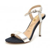 Glamour Womens Navy/Silver Stiletto Sandals - Blossom