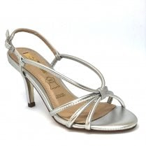 Glamour Womens Silver Strappy Mid Heeled Sandals - Sally