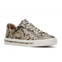 Clarks Womens Un Maui Lace Beige Natural Snake Sneakers