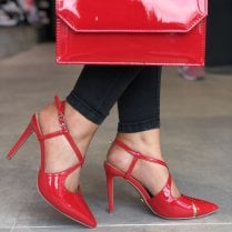 Glamour Womens Red Cross Over Patent Stiletto Heels - Chloe