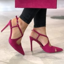 Glamour Womens Fuchsia Pink Cross Over Stiletto Heels - Chloe