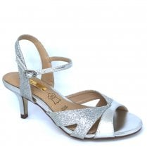 Glamour Womens Silver Low Heel Sandals - Sadie