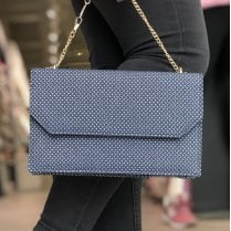 Glamour Blue Print Clutch Bag - Clara