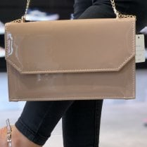 Glamour Nude Patent Clutch Bag - Chloe