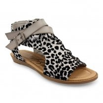 Blowfish Womens Blella Open Toe Ankle Sandals - Grey Leopard