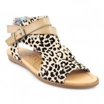 Blowfish Womens Balla Open Toe Ankle Sandals - Beige Leopard