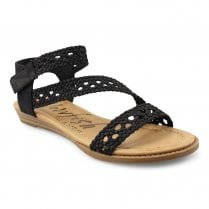 Blowfish Womens Besille Flat Boho Style Ankle Strap Sandals - Black
