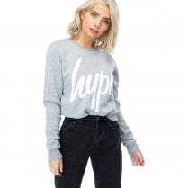 Hype Womens Grey White Script Crew Neck Long Sleeve Jumper