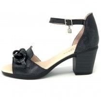 Jose Saenz Black Block Heel Buckle Detail Sandals