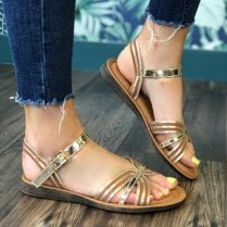 Una Healy Hickory Wind Gold Flat Sandals
