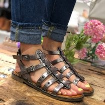 Escape Pewter Metallic Studded Gladiator Sandal - Boone Two
