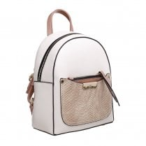 Bessie London Womens Beige Small Croc Print Front Pocket Backpack - BW4365