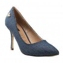 Glamour Clara Navy Printed Court Shoes - Navy White