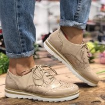 Redz Womens Beige Casual Sole Brogues
