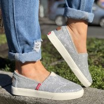 Drilleys Silver Sparkle Slip On Sneakers - Seabright