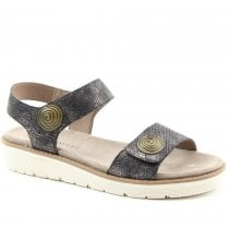 Heavenly Feet Pewter Chunky Sole Velcro Sandals - Caroline