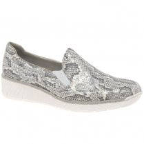 Rieker Ladies Slip On Grey Wedge Shoes