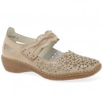 Rieker Ladies Beige Leather Mary Jane Low Wedge Shoes