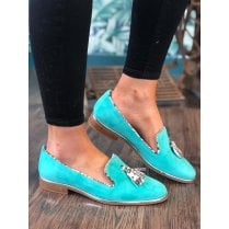 Nicola Sexton Aqua Suede Snake Tassel Slip On Flat Loafer Shoes