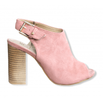 Escape Madison Faux Suede Peep Toe Sandal - Blush