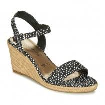 Tamaris Black / White Wedge Sandals