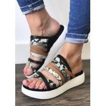 Unisa Bruto Flat Platform Strappy Mule Sandals