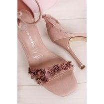 Tamaris Flower Front High Heel Sandals - Old Rose