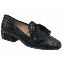 Wonders Black Reptile Tassel Front Shoe