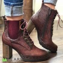 Mustang Ladies Bordo Heeled Ankle Boot