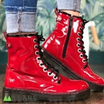 Mustang Ladies 8 Eyelet Ankle Boot - Red Patent
