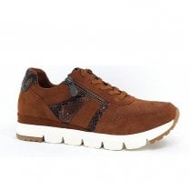 Marco Tozzi Suede Trainer with Snake Detailing - Tan