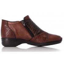 Rieker Ladies Brown Double Zip Shoe Boot