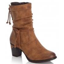 Rieker Ladies Brown Block Heel Mid Boots