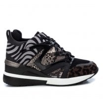 XTI Grey with Animal Print Wedge Trainer
