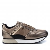 XTI Womens Bronze Trainers With Leopard