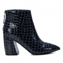 XTI Navy Patent Croc Boot With Block Heel