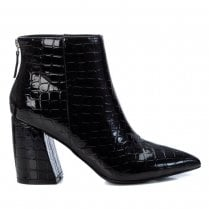 XTI Black Patent Croc Boot With Block Heel