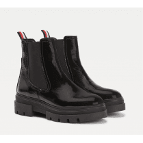 Tommy Hilfiger Patent Chunky Chelsea Boot