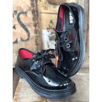 TEDS Patent Large Eyelet Girls School Shoe - Black