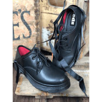 TEDS Large Eyelet Girls School Shoe - Black