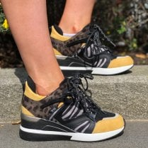 XTI Yellow with Animal Print Wedge Trainer