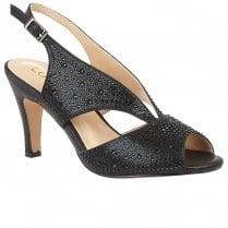 Lotus Dazzle Womens Slingback Peep Toe Court Shoes - Black