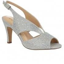 Lotus Dazzle Womens Slingback Peep Toe Court Shoes - Silver