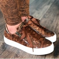 Marco Tozzi Tan Croc Lace Up Trainers With Side Zip