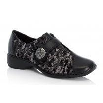 Rieker Black Metallic Velcro Shoes